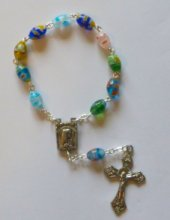 Multi-colored  Murano glass rosary Handheld rosary Beads