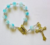 Handheld Blue Glass Rosary Beads.
