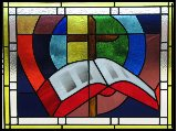 stained glass window, Bible and cross