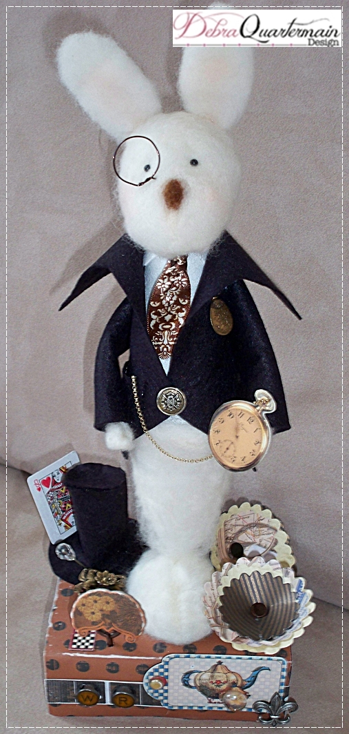 Needle Felted White Rabbit by Debra Quartermain Design